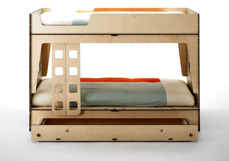 L8 letto a castello ecologico legno multistrato cassetto - Costruire un letto a castello in legno ...