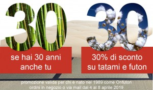 Onfuton Futon Tatami Milano 30 anni 30enni sconto 30